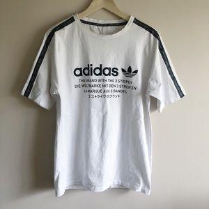 Adidas 3-Stripe Multi-Lingual White Shirt